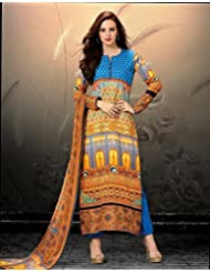 ForeTrend Multi-Color Printed Cotton Salwar Suit(Semi-Stitched)