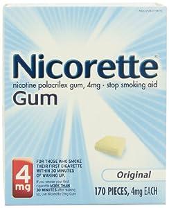Nicorette Nicotine Gum Original 4 milligram Stop Smoking Aid 170 count