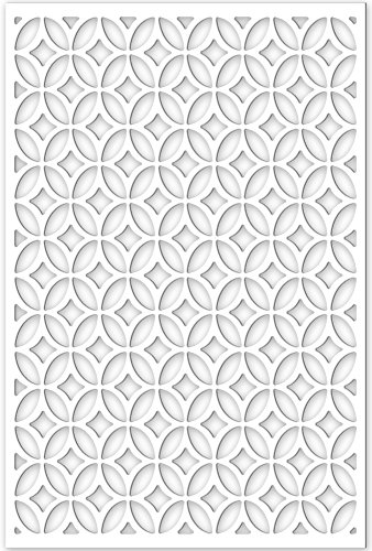 Acurio Lattice Moors Ellipses Outdoor Decor Panel Screen, White, 48 x 32 x 1/4