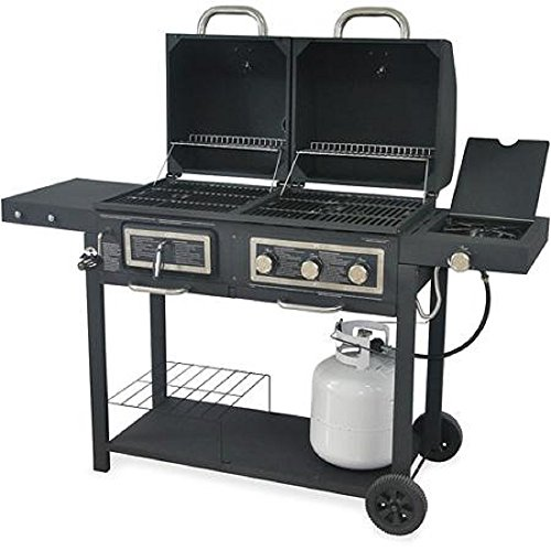 Durable Ourdoor Barbeque and Burger Gas/charcoal Grill Combo, Large Cooking Surface Comes with a Chrome Plated Warming Rack and a Porcelain Heat Plate, 3-burner Grill with Integrated Ignition and Also Has a Handy Tool Holders and a Bottle Opener.