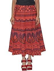 Gurukripa Shopee Women's Cotton Wrap-around Skirt (Red) - B01I1DAUN4