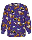 Cherokee Scooby Doo Jewel Neck Warm-up Scrub Jacket: Psycha-Scooby (2XL)