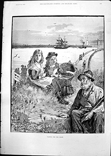 Antique Print Of Waiting For Boats Davidson Knowles Old Man Telescope 2 Girls 1891