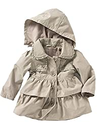 Baby Toddler Girls Fall Winter Trench Coat Wind Hooded Jacket Kids Outerwear 90#1-2Years Grey