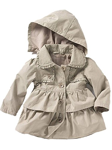 Baby Toddler Girls Fall Winter Trench Coat Wind Hooded Jacket Kids Outerwear 80#0-1Years Grey