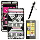 MINITURTLE, Dual Layer Tough Skin Dynamic Hybrid Hard Phone Case Cover, Clear Screen Protector Film, and Stylus Pen for Windows Smart Phone 8 Nokia Lumia 521 /T Mobile /MetroPCS (Antique Aztec Tribal / Black)