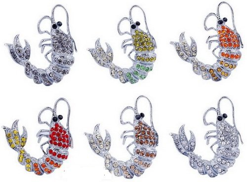 Lobster Brooch Pin White Gold Plated Czech Rhinestone Crystal Popular 6-COLORS