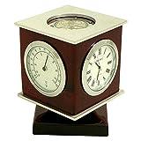 Genuine Mahogany Swivel Cube Thermometer Hygrometer Compass and Clock