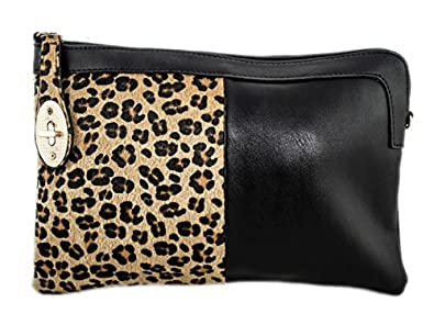 Girly Handbags Ladies New Leopard Faux Leather Print Animal Fur Clutch Bag Evening Elegant Shoulder Handbag Vintage Zipper Gold Harware