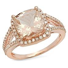 buy 14K Rose Gold Cushion Cut Morganite & Round White Diamond Bridal Halo Style Engagement Ring (Size 8)