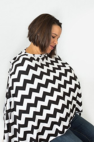 Bay's Nursing Scarf - Black and White Chevron - Incredible Quality, Super Soft - 1