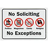 "SmartSign Security Sign, Legend ""No Soliciting No Exceptions"" with Graphic, Black/Red on White"