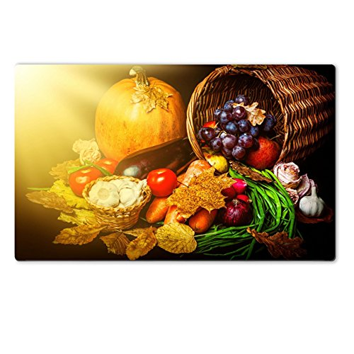 Liili natural rubber Large Table Mat IMAGE ID: 21341935 Beautiful autumn harvest of vegetables and leaves on black background with sun light (Toddler Sun Har compare prices)