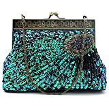 Lath.pin Sequins Beaded Evening Bag Wedding Bridal Party Prom Clutches Peacock Handbag