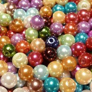 100 Mixed Colour Pearl Glass Beads - 6mm D6798 By Libbyshouse