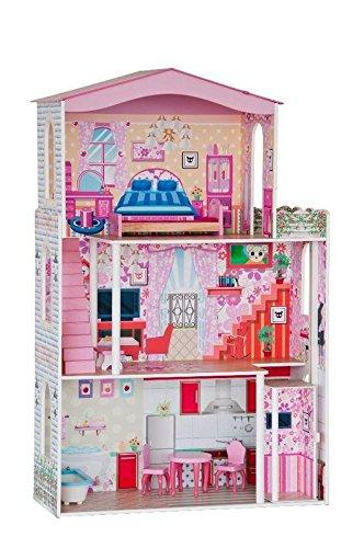 Großes Puppenhaus. Bespielbar auf 3 Etagen. Höhe 116cm !! 21 teiliges Set (inkl. Möbel wie z.B. Bett Schrank Stuhl Sofa) mit Aufzug zwischen EG und 1. Stock jetzt kaufen