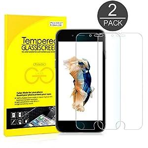 iPhone 6s Protector de Pantalla, JETech® 2-Pack [3D Touch Compatibles] iPhone 6s Vidrio Templado Protector de Pantalla Empaquetado al por Menor para iPhone 6s y iPhone 6 4.7