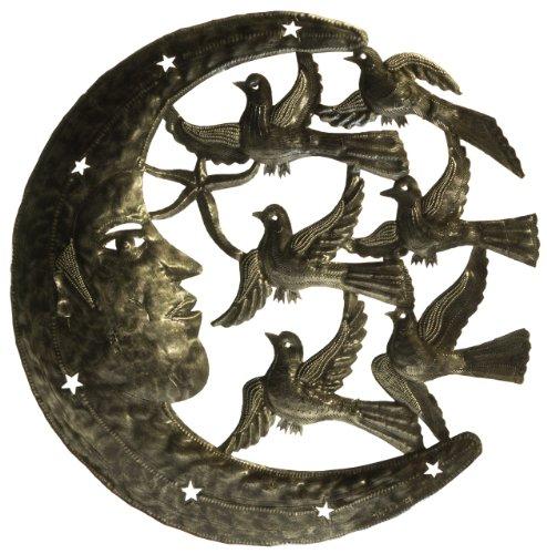 Le Primitif Galleries Haitian Recycled Steel Oil Drum Outdoor Decor Moon and Birds
