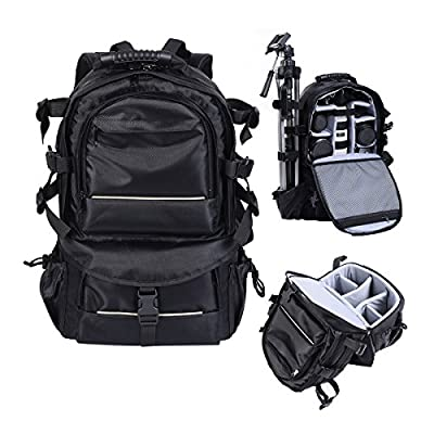 Multifunctional Deluxe Camera Backpack Bag Case for DSLR/ SLR Cameras and Accessories Sony Canon Nikon - Black