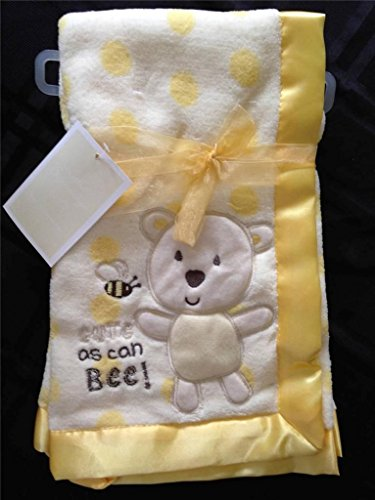 Soft Coral Fleece Yellow Cute As Can Bee Baby Security Blanket - 1