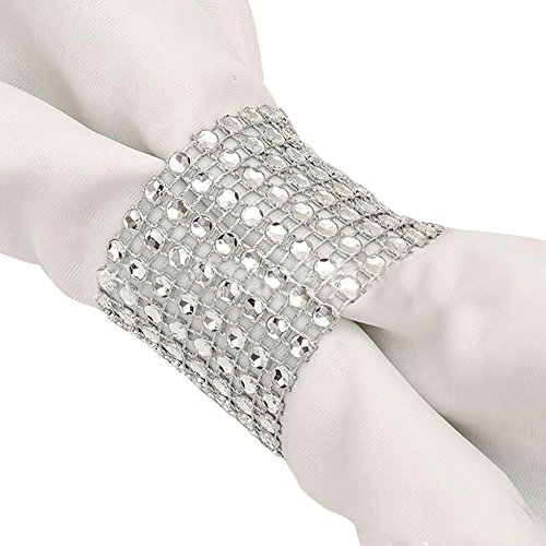 Carlie Napkin Rings Rhinestone Napkin Rings Adornment For Wedding Party (100 PCS, Silver)