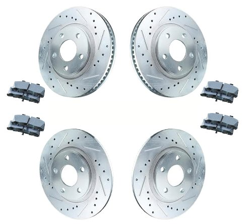 Front Brake Rotors /& Ceramic Pads Fits 2006-2011 Honda Civic Drilled And Slotted