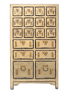 China 18 High Apothecary Cabinet with Drawers Pine Natural