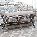 Belham Living Glam Upholstered Bench with Mirrored Frame