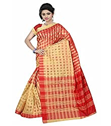 Dealseven Fashion Womans Red Color Art Silk Saree