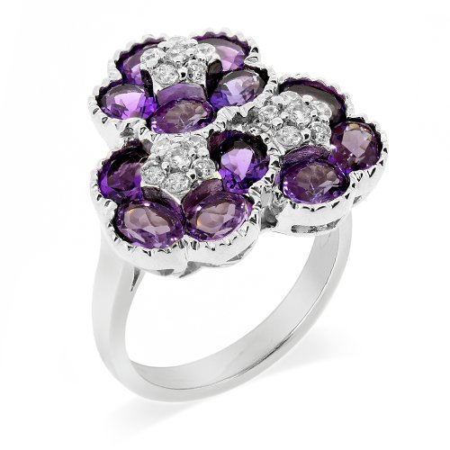 LenYa Special - Personifying magnificence, Anniversary Rhodium Plated Silver Ring with Oval Amethyst (Main Stone), Round Cubic Zirconia, (Ring Size 6.75)