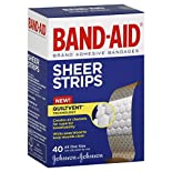Band Aid Adhesive Bandages, Sheer Strips, All One Size, 40 bandages