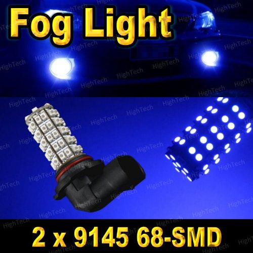 Pair Ultra Blue 9145 68-SMD LED Headlight Bulbs For Driving Fog Light / Day Time Running Light DRL ( Cross Reference : H10 / 9040 / 9045 / 9055 / 9140 )