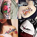 Dalin 4 Sheets Fashion Temporary Tattoos, Lotus, Koi Fish, Wings, Sexy Lady