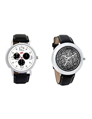 Gledati Men's White Dial And Foster's Women's Black Dial Analog Watch Combo_ADCOMB0001870