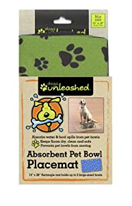 Dogs Unleashed Ritz Absorbent Rectangle Pet Placemat, 16 by 28-Inch, Clover