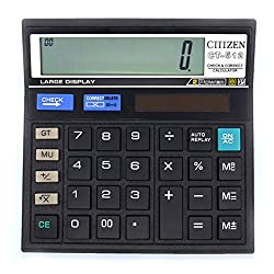 Calculator,12-Digit Check and Correct Standard Function Desktop Calculator Powered Office School Home Supplies(Black) by Sweet decorations