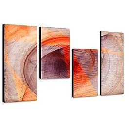 130x70cm 4 teiliges Keilrahmenbild orange (30x70+30x50+30x50+30x70cm) abstraktes Wandbild mehrteilig Gemälde-Stil handgemalte Optik Vintage