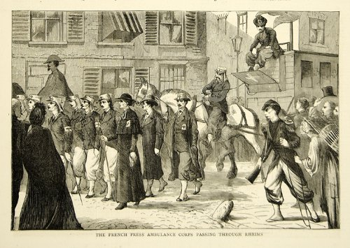 1870 Wood Engraving Franco-Prussian War French Press Ambulance Corps Rheims Art - Original In-Text Wood Engraving