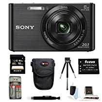 Sony DSCW830/B DSCW830 W830 20.1 Digital Camera with 2.7-Inch LCD (Black) + Focus Universal Memory Card Reader + Focus 5 Piece Deluxe Cleaning and Care Kit + Accessory Kit