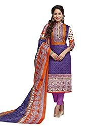 PShopee Purple & Orange Karachi Cotton Printed Unstitched Salwar Dress Material