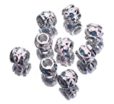 Gem 5mm Hole Lake Blue Diamond Bling Jewellery Alloy Spacer Loose Beads Fit Charms Bracelet -Compatible with Pandora Chamilia Troll Biagi Tedora