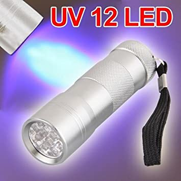 uv 12 led lampe de torche poche ultraviolet en aluminium. Black Bedroom Furniture Sets. Home Design Ideas