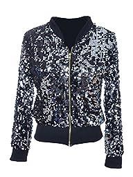 Anna-Kaci Black Silver Sequin Fitted Long Sleeve Zipper Jacket