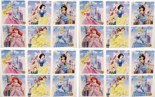 "DISNEY PRINCESS STICKERS - Disney Princess Birthday Party Favor Sticker Set Consisting of 45 Stickers Featuring 5 Different Designs Measuring 2.5"" Per Sticker Featuring Ariel, Belle, Jasmine, Aurora, Snow White and Cinderella"