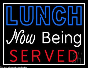 Amazon.com: Lunch Now Being Served Clear Backing Neon Sign