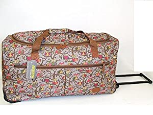"27"" Large Grey Owl Print Lightweight Wheeled Holdall Holiday Weekend Travel Bag from Funkytravelbags"