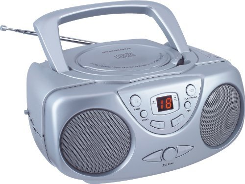 Sylvania Srcd243 Portable Cd Player With Am/Fm Radio, Boombox (Silver) Color: Silver