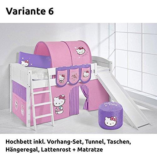 Hochbett Spielbett IDA Hello Kitty Lila, mit Rutsche und Vorhang, weiß, Variante 6