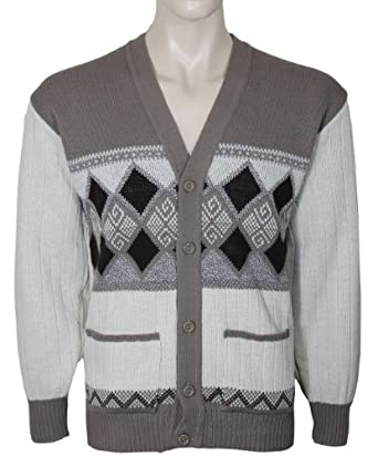 Mens Cardigans Knitted Classic Style With Button Front V Neck (Medium, Beige)