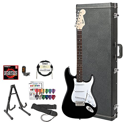 Squier Bullet By Fender (031-0001-506) Black Strat With Picks, Tuner, Stand, Hard Case, Strap, Cable, Dvd & Strings